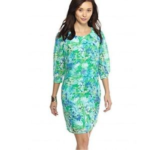 New Directions Woven Shift Floral Blues Dress